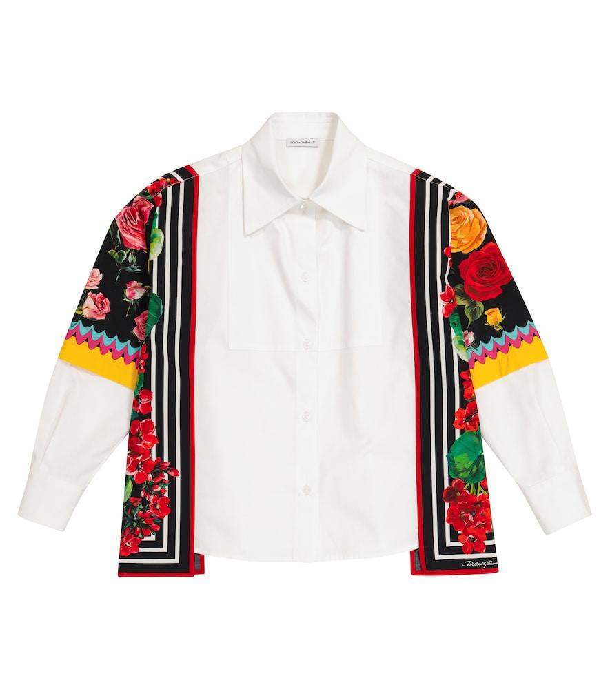 Floral-trimmed cotton shirt