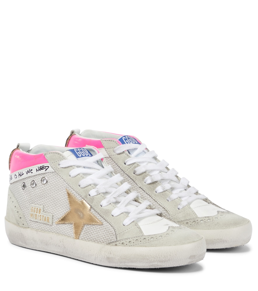 Mid Star suede-trimmed leather sneakers
