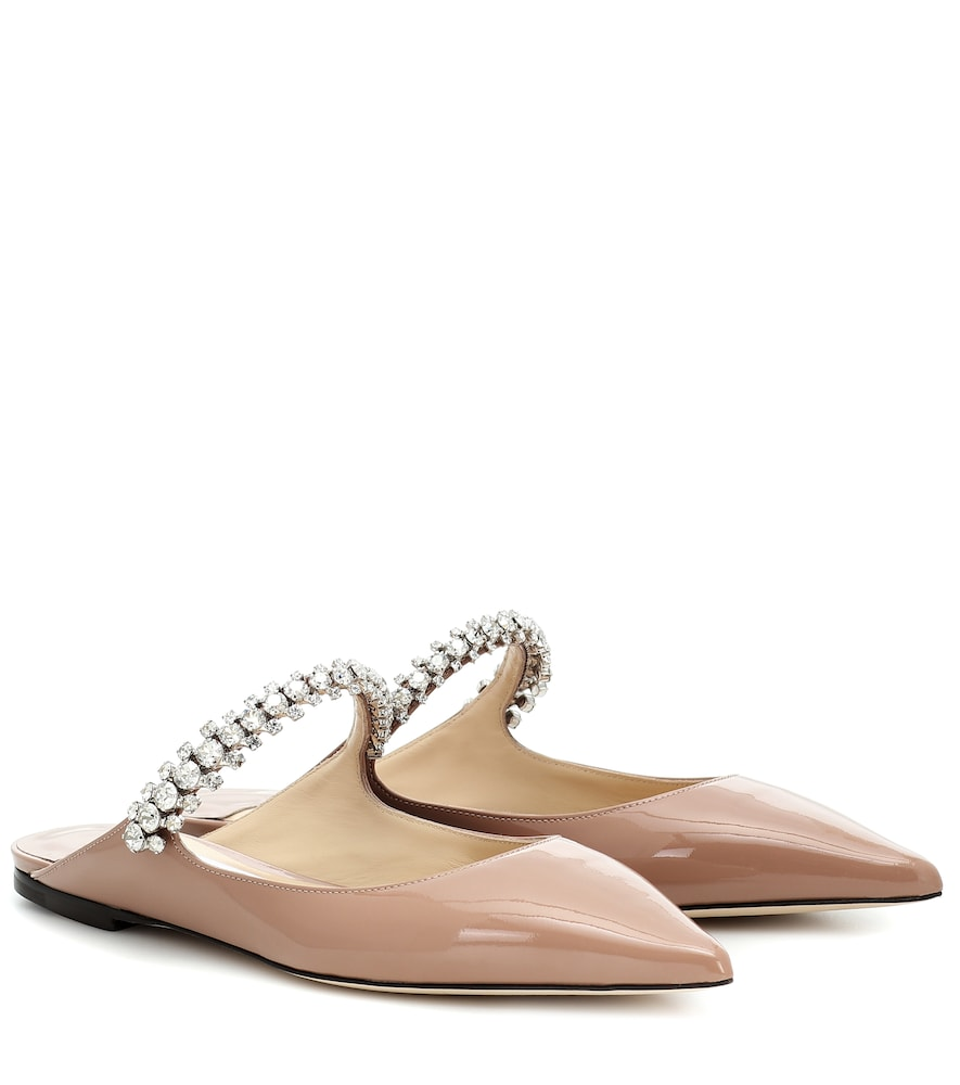 Jimmy Choo Bing Embellished Patent Leather Flat Mules In Balletpink