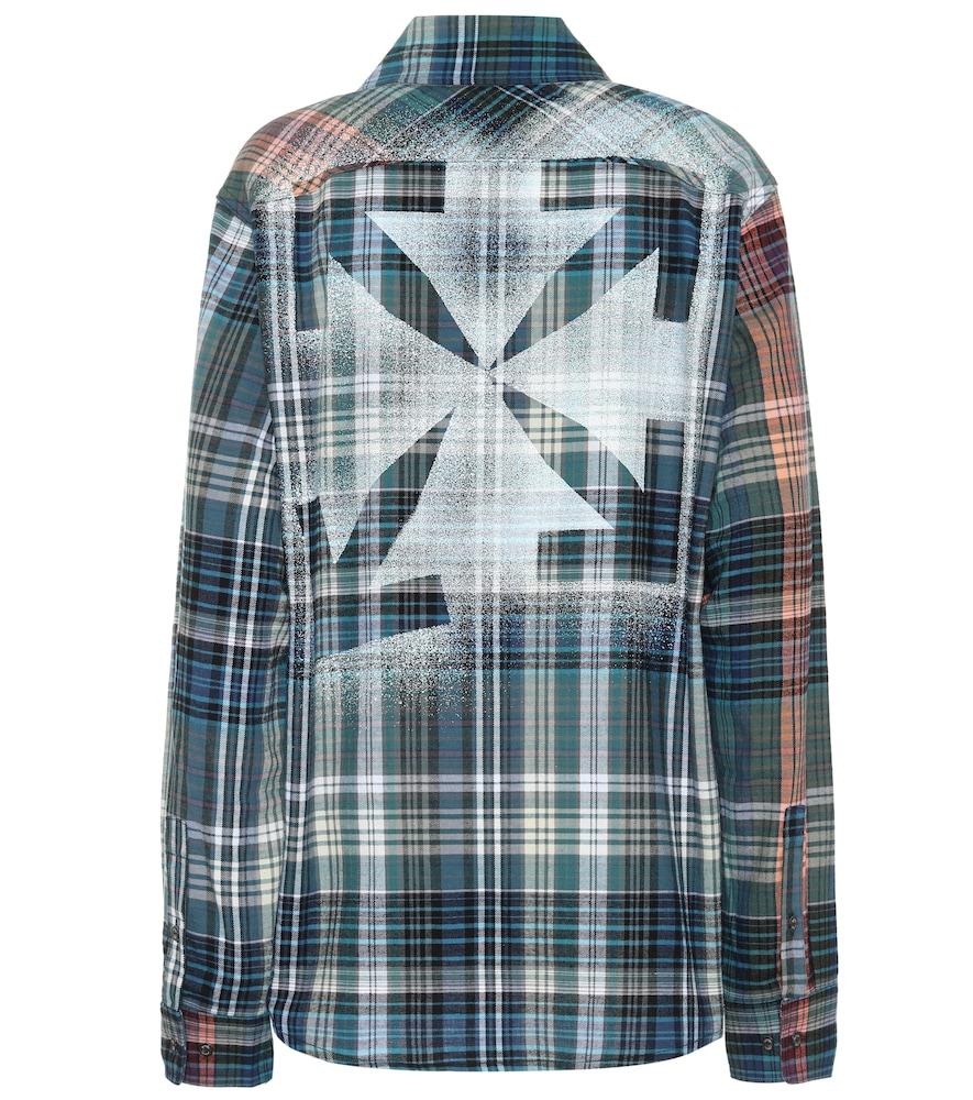 Chemise imprimée en coton à carreaux - Off-White - Modalova