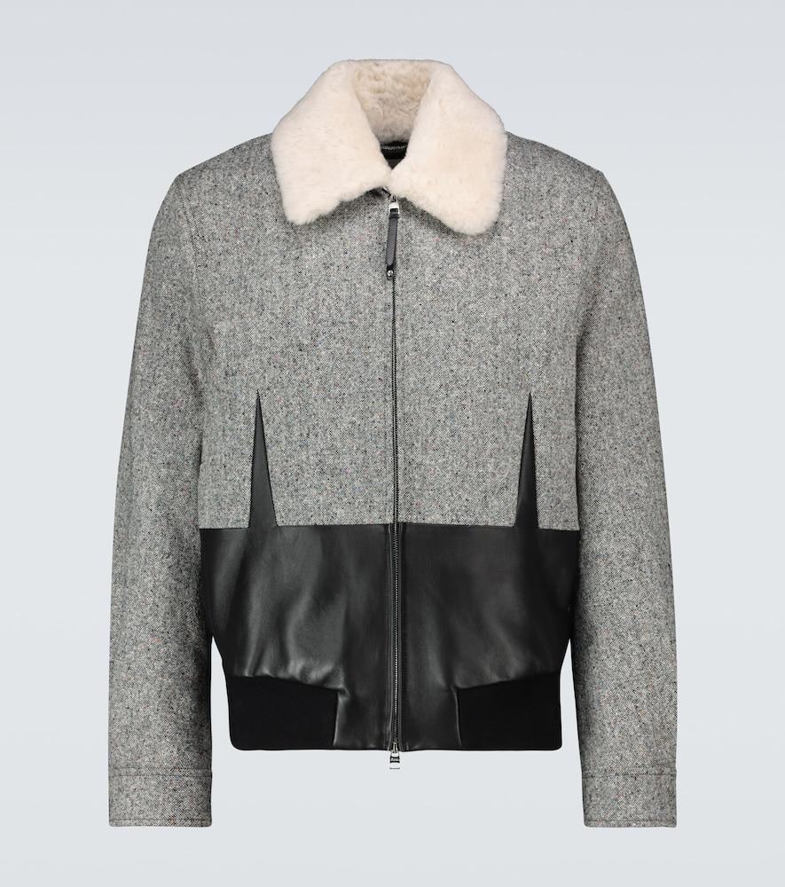Shearling-trimmed paneled jacket