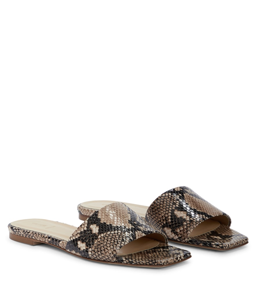 Aeyde ANNA SNAKE-EFFECT LEATHER SANDALS