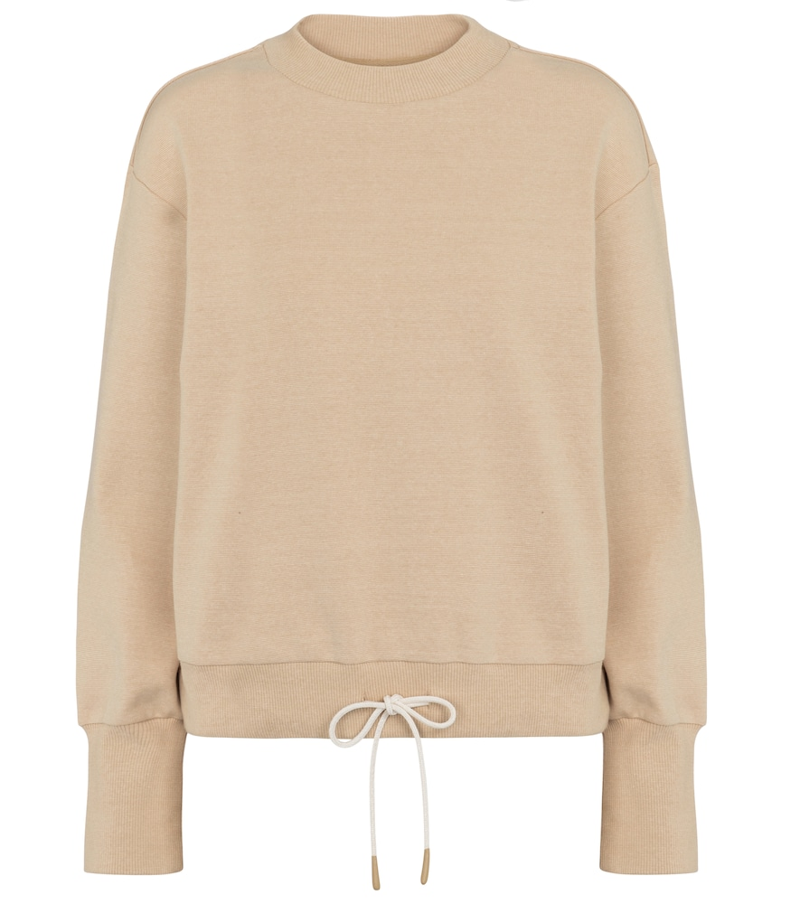 Varley Edith Sand Stretch-cotton Sweatshirt In Beige