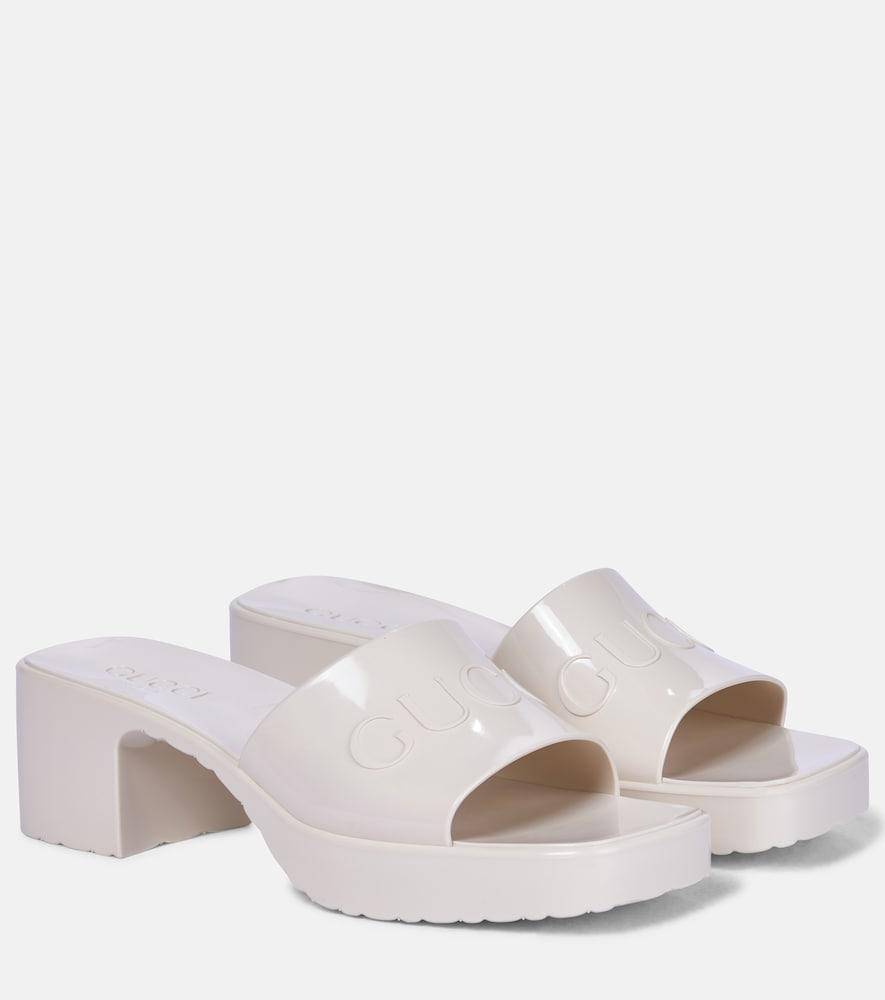 Gucci Logo Rubber Platform Sandals In White