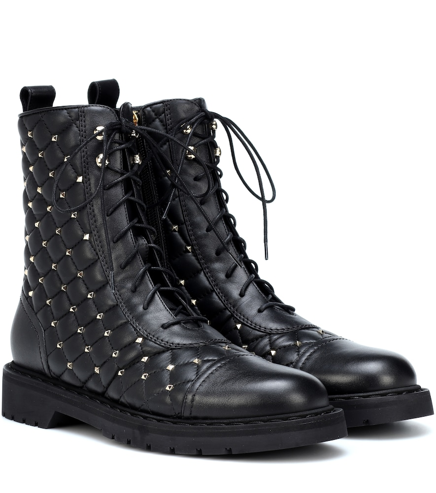 Studded Leather Combat Boots - Black Size 7