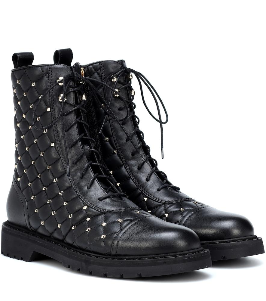 Rockstud Spike Black Leather Boots