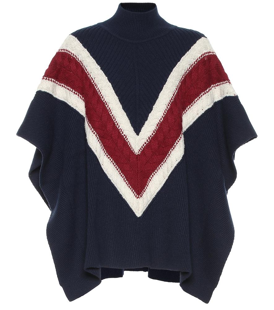 Poncho rayé en laine et coton mélangés - See By Chloé - Modalova