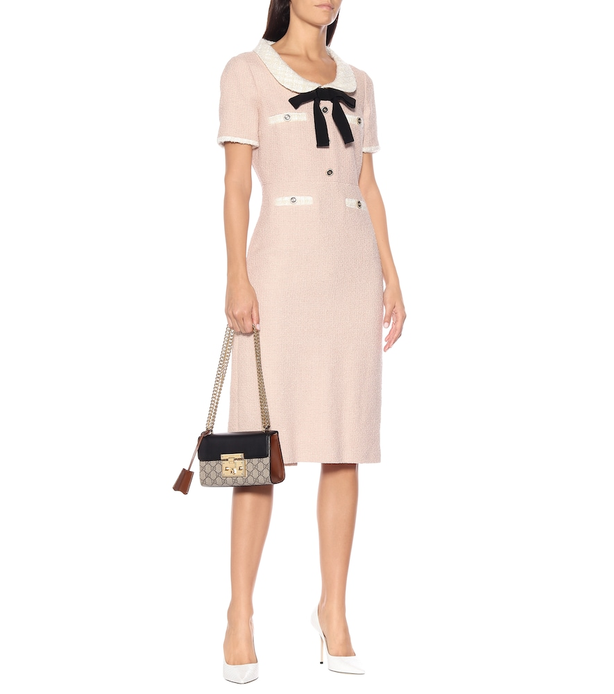 Cotton-blend tweed midi dress by Gucci