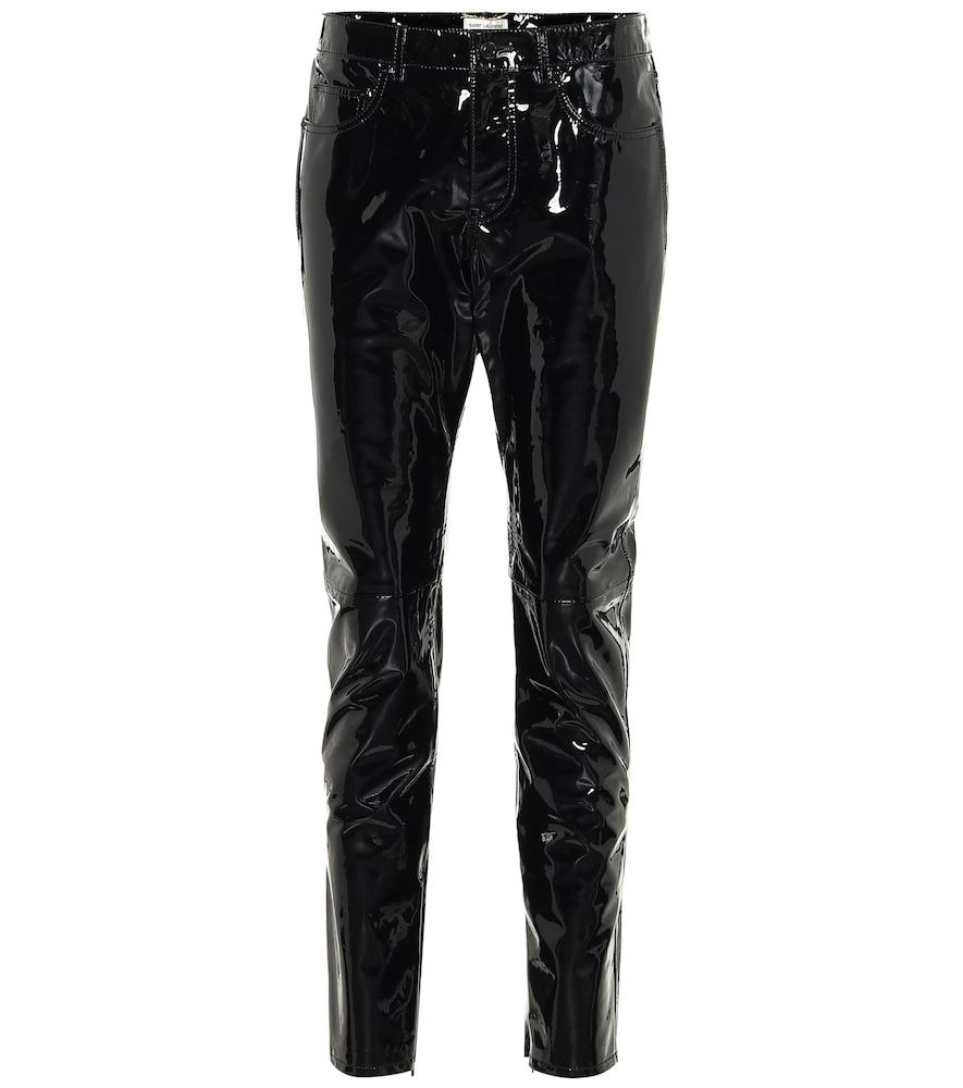 Pantalon slim en cuir verni - Saint Laurent - Modalova