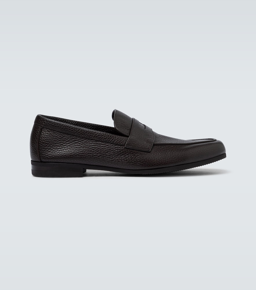 Thorne grained leather loafers