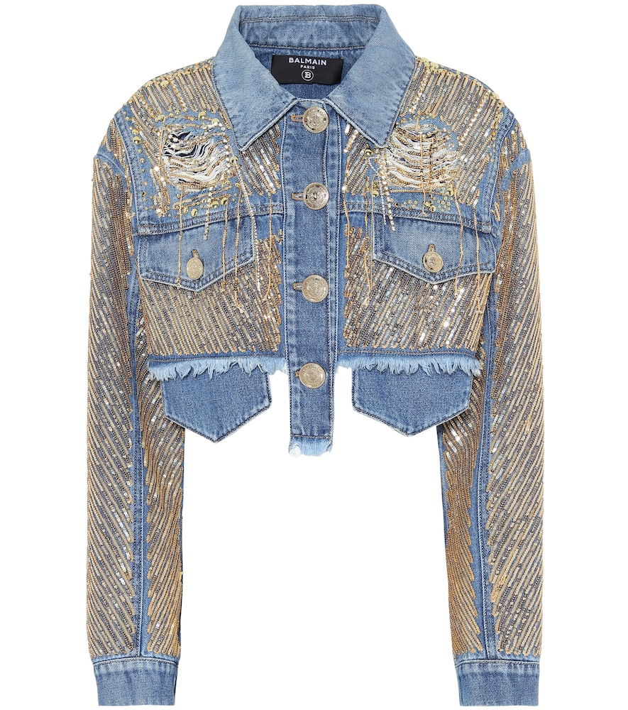 Embroidered cropped denim jacket by Balmain
