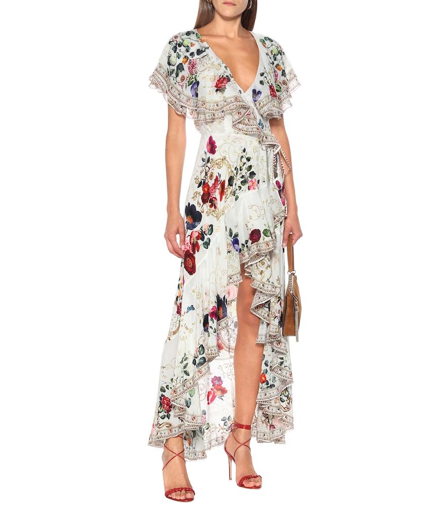 Embellished floral silk wrap dress by Camilla