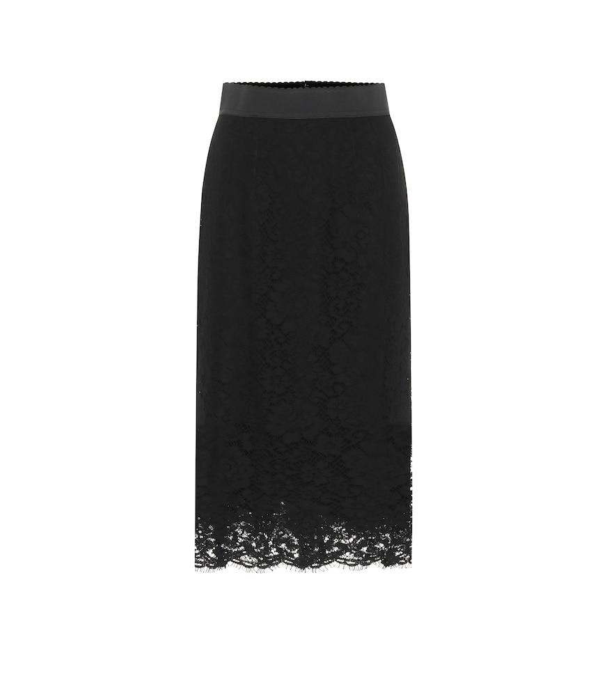 Dolce & Gabbana Floral-appliquéd Embroidered Shearling Pencil Skirt In Black