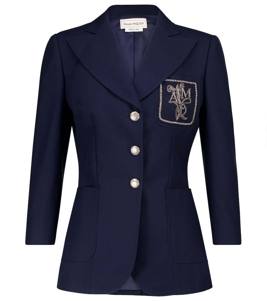 Alexander Mcqueen Floral Logo Embroidered Patch Three Quarter Sleeve Blazer In Navy