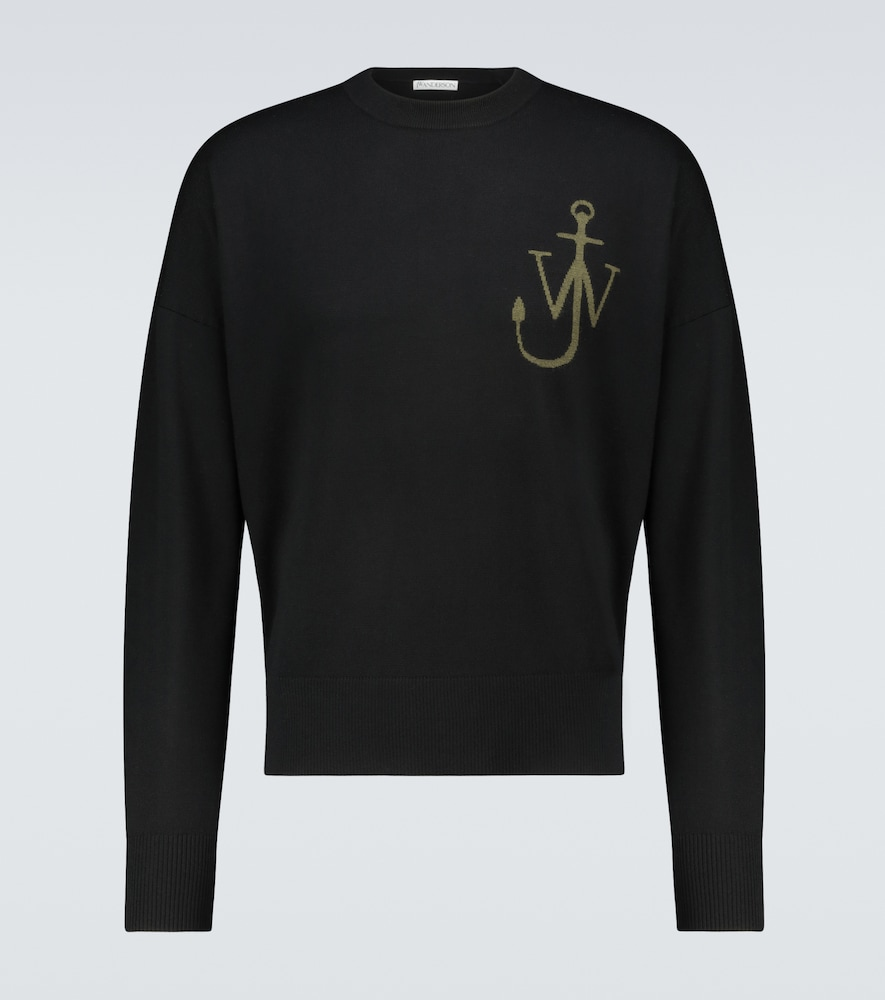 Jw Anderson Anchor Crewneck Sweater In Black