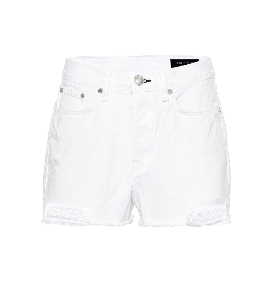 Rag & Bone Maya High-rise Denim Shorts In White