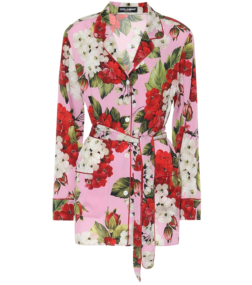 Floral stretch-silk pajama top