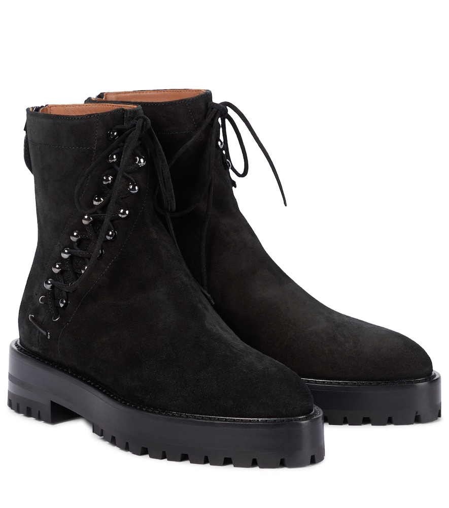Alaïa Asym Suede Ankle Boots In Black