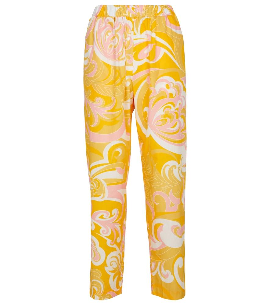 Printed cotton straight pants