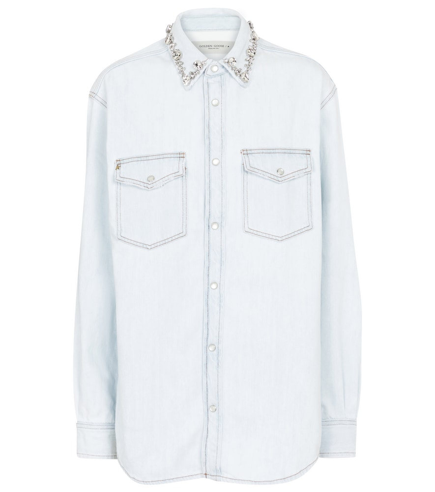 Golden Goose EMBELLISHED COTTON CHAMBRAY SHIRT