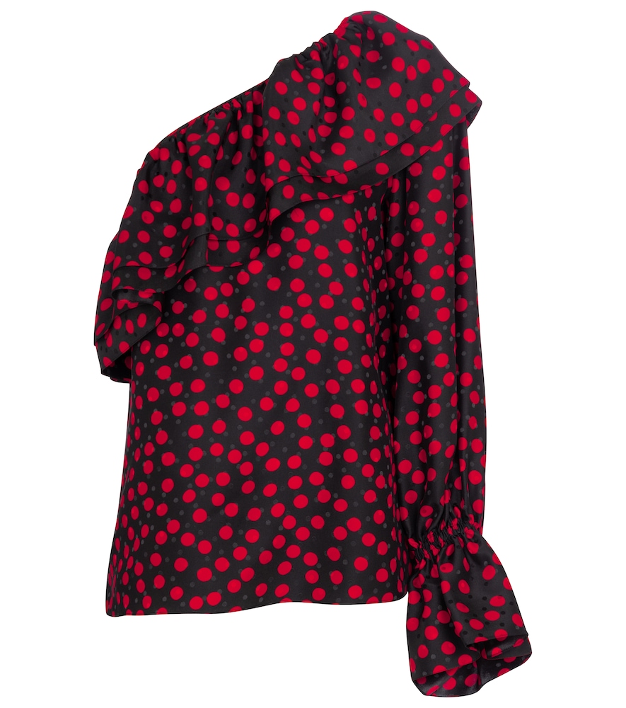 Saint Laurent POLKA-DOT ONE-SHOULDER SILK BLOUSE