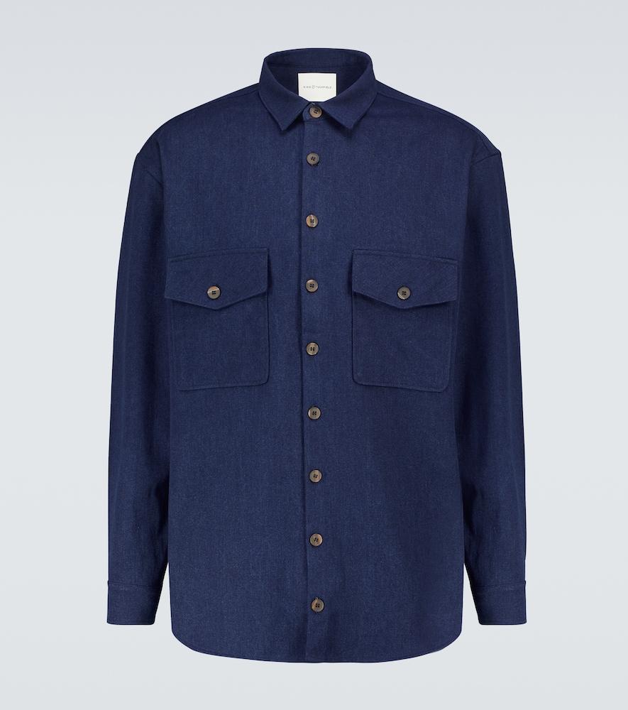Long-sleeved denim overshirt