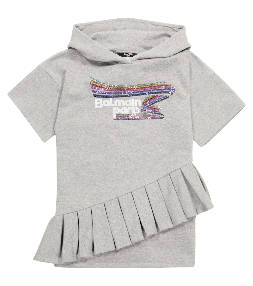 Balmain Kids' Sequined Hooded Cotton Dress In Grey