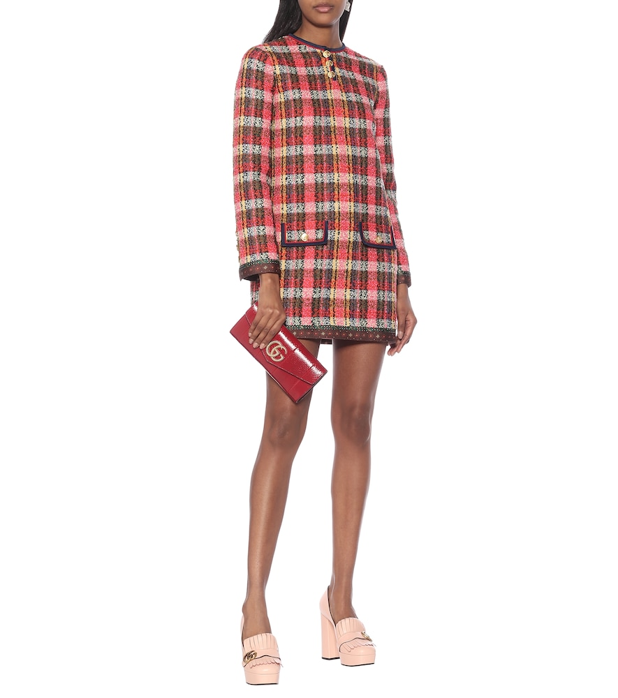 Checked wool-tweed minidress by Gucci