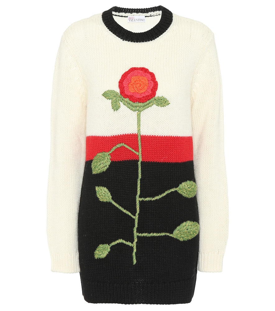 Embroidered Wool Sweater in White