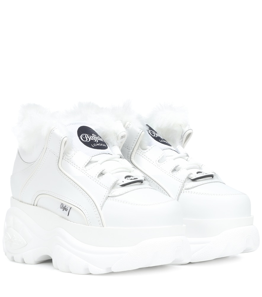 + Buffalo London Faux Fur-Lined Leather Platform Sneakers in White