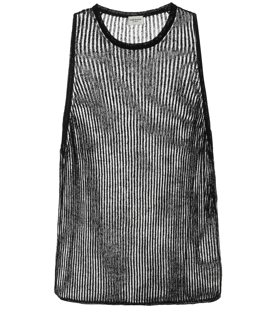 Saint Laurent Ribbed-knit Linen And Silk Tank Top In Black