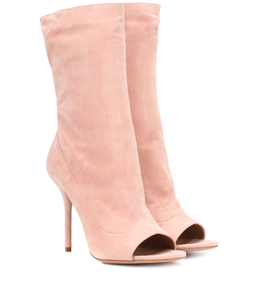 SUEDE OPEN TOE BOOTS