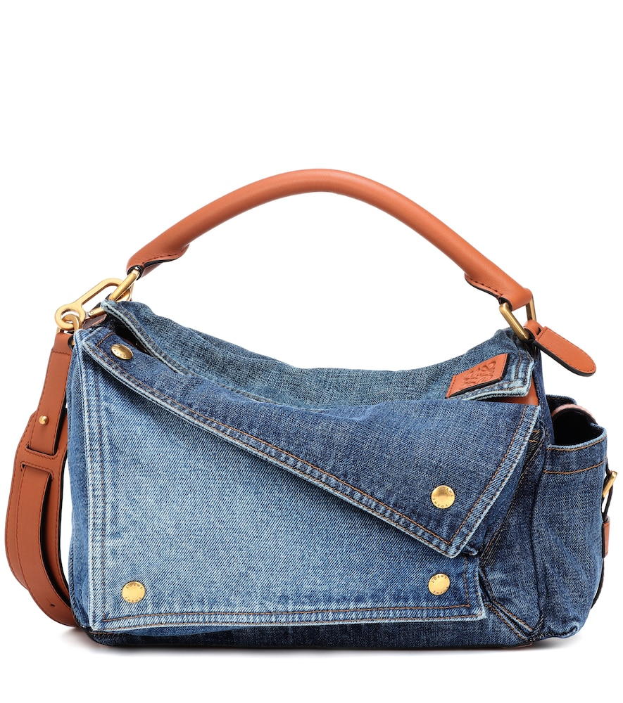 PUZZLE DENIM SHOULDER BAG