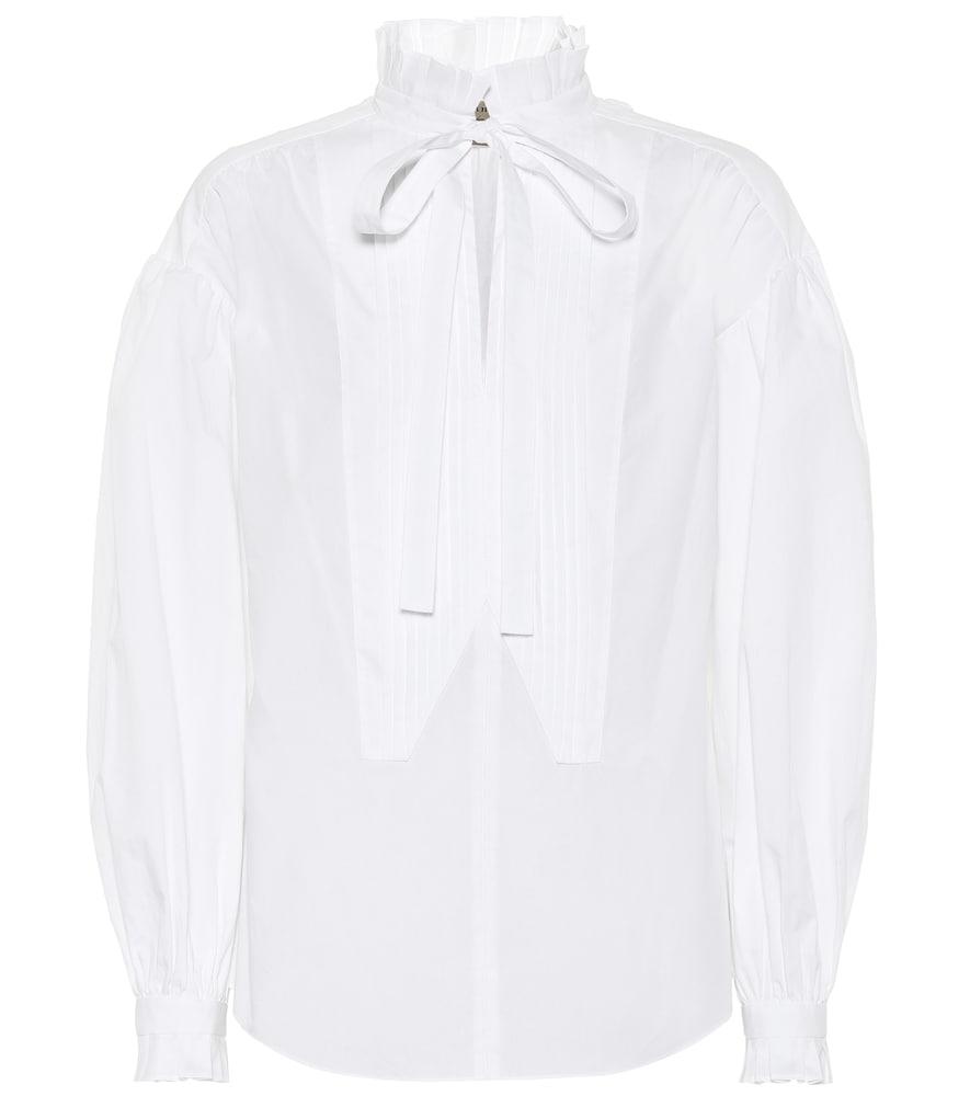 Tie-neck cotton blouse