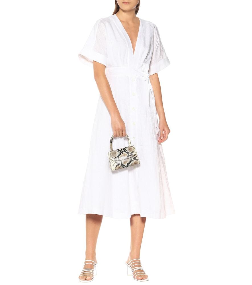 Nauman linen wrap midi dress by Equipment