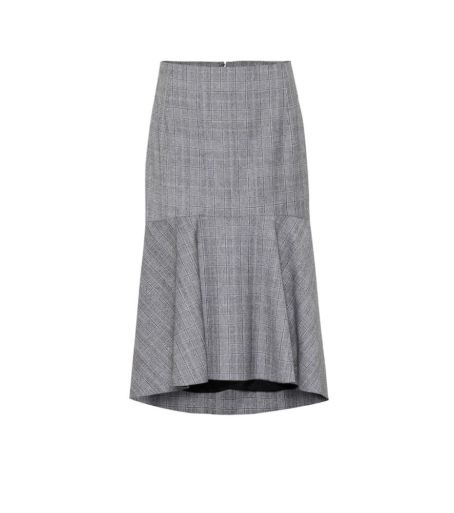 Jupe asymétrique en laine à carreaux - Balenciaga - Modalova