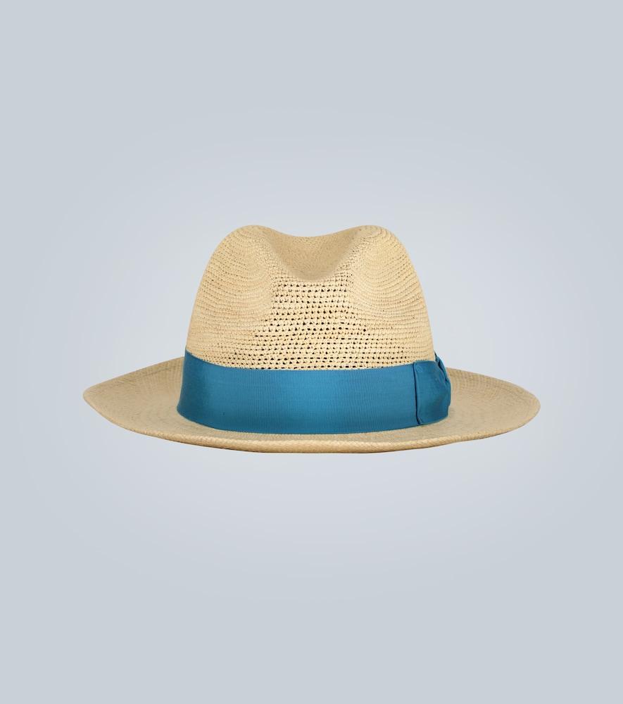 Chapeau de paille Panama à ruban - Borsalino - Modalova