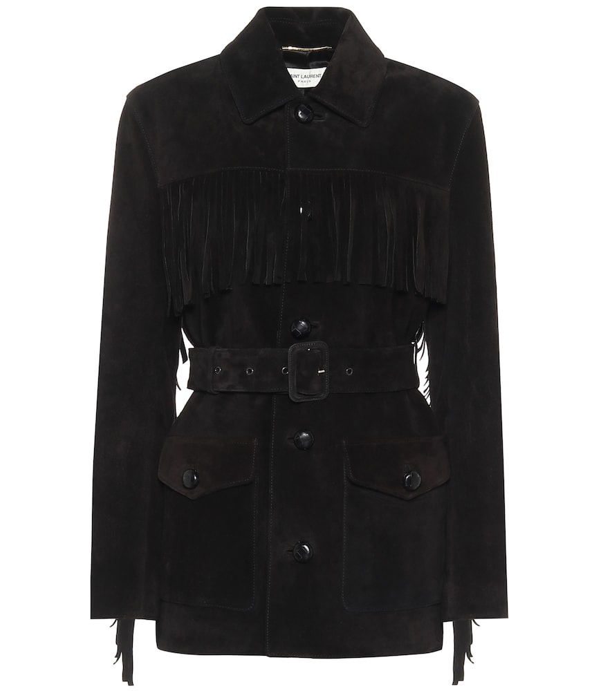 Belted suede jacket by Saint Laurent