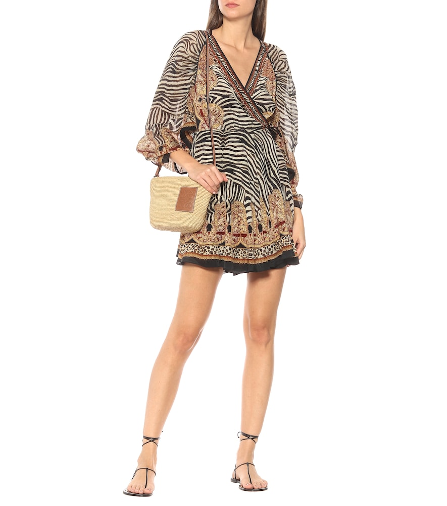 Printed silk wrap mini dress by Camilla