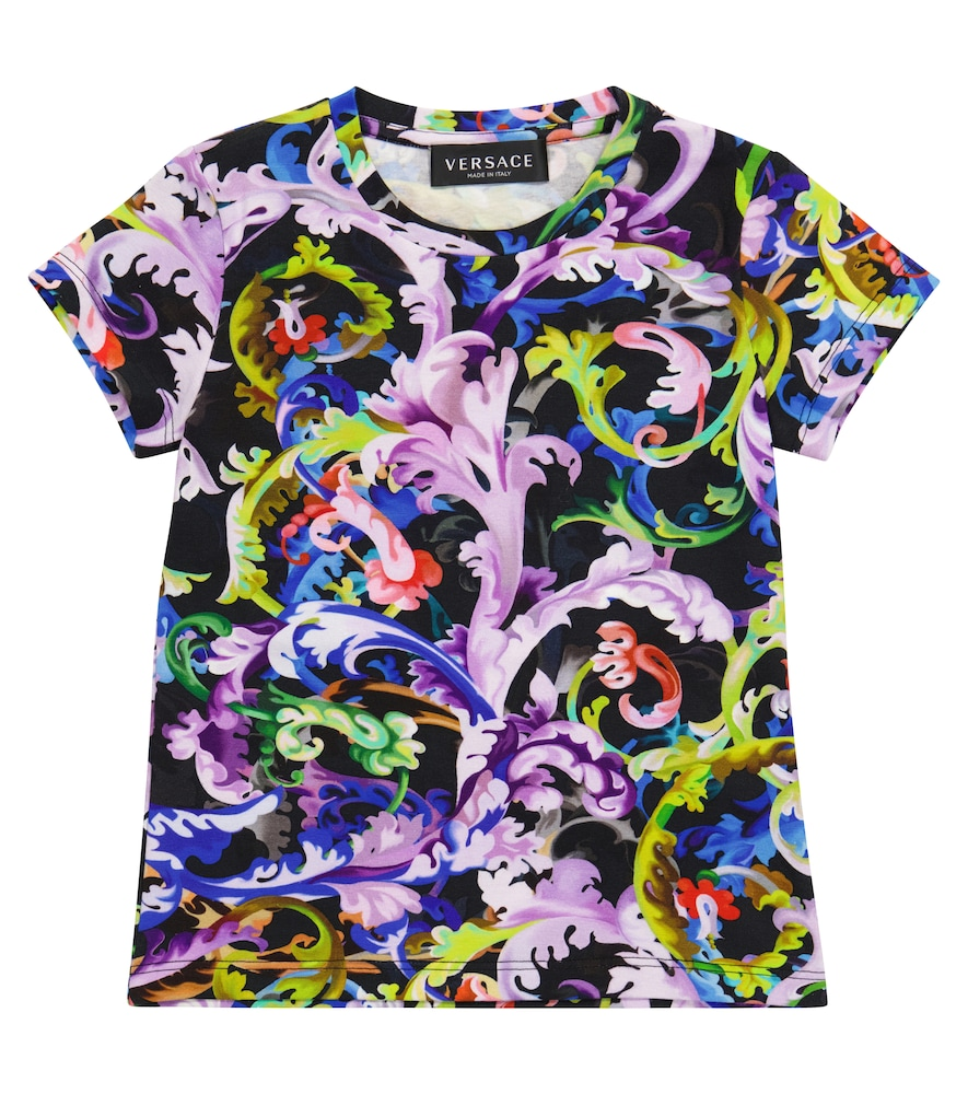 Versace Kids' Baroccoflage Stretch-cotton T-shirt In Multicoloured