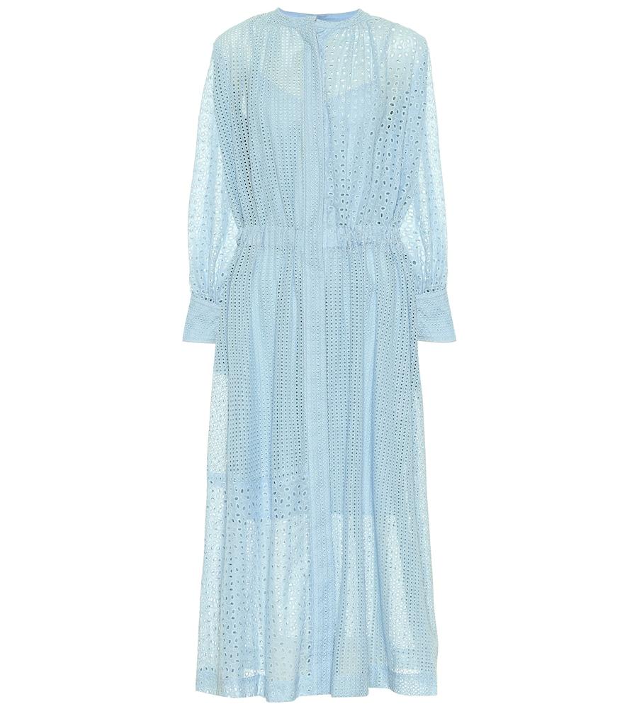 Joseph Rafael Broderie Anglaise Cotton-blend Midi Dress In Blue