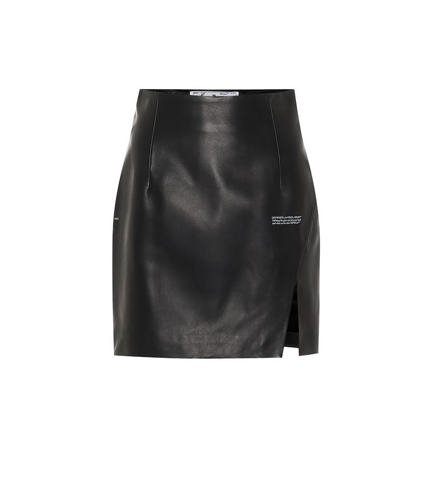 Mini-jupe en cuir à taille haute - Off-White - Modalova