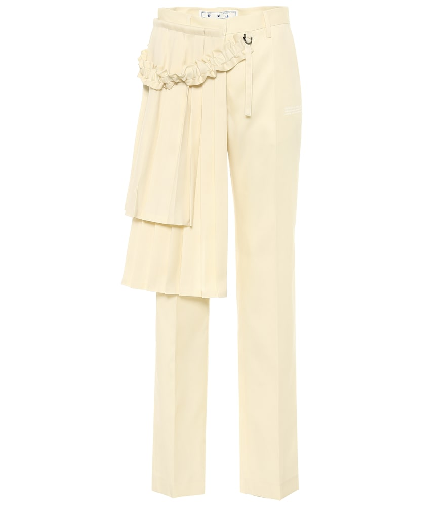 Off-White Pants CURTAINS HIGH-RISE WOOL PANTS