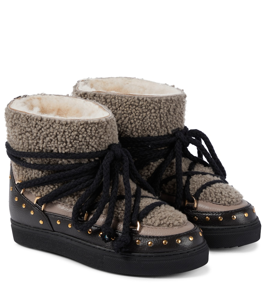 Shearling and leather boots
