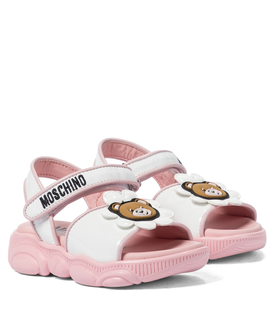 Moschino Leathers PATENT LEATHER-TRIMMED SANDALS