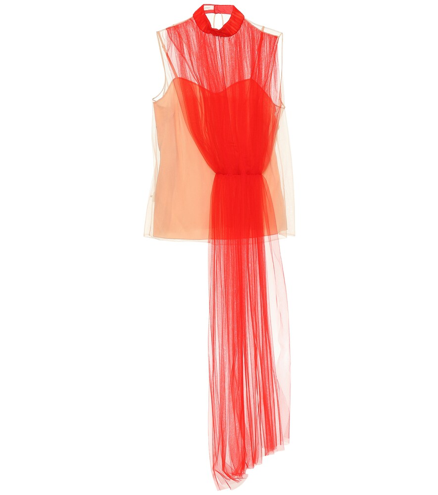 DELPOZO Asymmetric Layered Tulle Top in Red