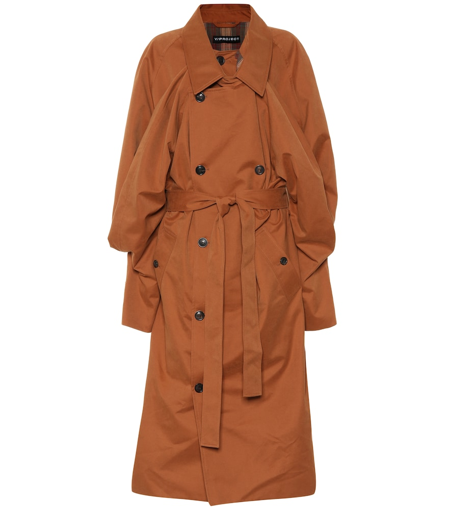 Oversized Layered Gabardine Trench Coat in Brown