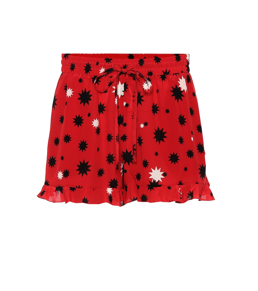 Frilled Star-Print Silk-Crepe Shorts in Red
