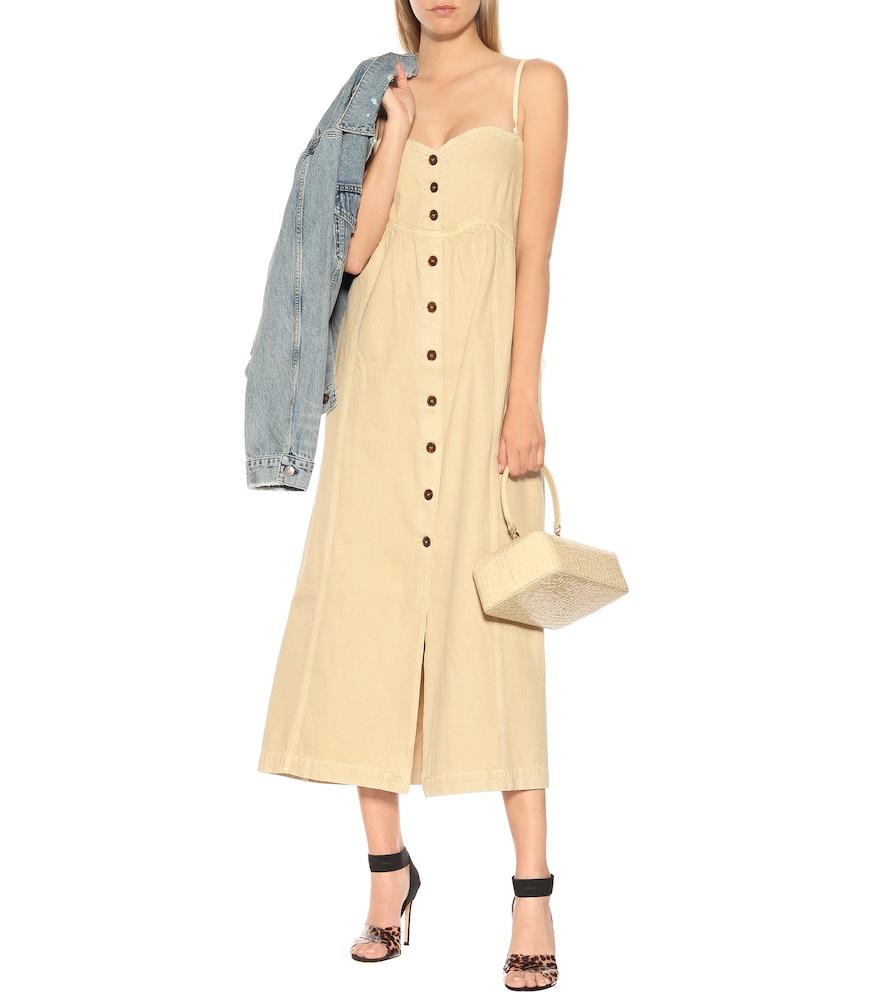 Kaia cotton twill midi dress by Nanushka