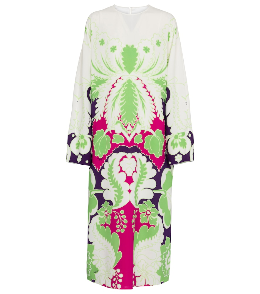 VALENTINO PRINTED CRÊPE MIDI DRESS
